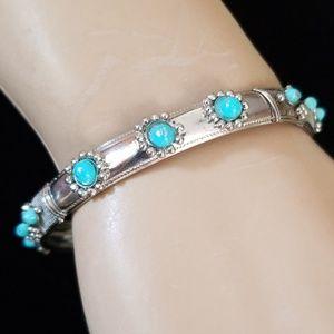 Vintage NOS Silver and Turquoise Bangle Bracelet
